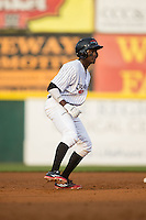 Eric Jenkins (5) of the Hickory Crawdads takes his lead off of second base against the Rome Braves at L.P. Frans Stadium on May 12, 2016 in Hickory, North Carolina.  The Braves defeated the Crawdads 3-0.  (Brian Westerholt/Four Seam Images)