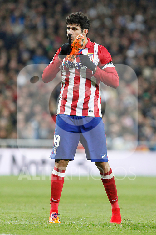 Atletico de Madrid´s Diego Costa during King´s Cup (Copa del Rey) semifinal match in Santiago Bernabeu stadium in Madrid, Spain. February 05, 2014. (ALTERPHOTOS/Victor Blanco)