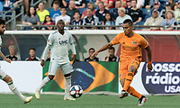 FOXBOROUGH, MA - JUNE 29: Darwin Ceren #24 passes the ball during a game between Houston Dynamo and New England Revolution at Gillette Stadium on June 29, 2019 in Foxborough, Massachusetts.