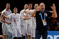 Serbia's national basketball team head coach Aleksandar Djordjevic gestures during European championship semi-final basketball match between Serbia and Lithuania on September 18, 2015 in Lille, France  (credit image & photo: Pedja Milosavljevic / STARSPORT)
