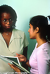 Summer internship at financial firm female student talking with supervisor