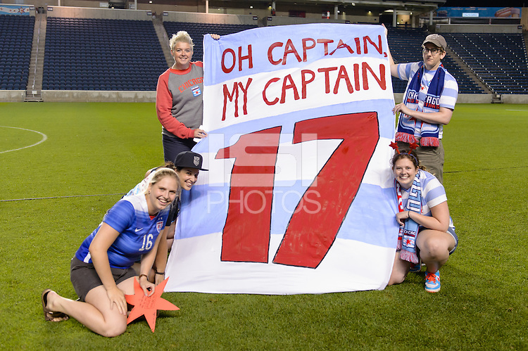 Chicago, IL - Saturday July 30, 2016: Chicago Local 134, Chicago Red Stars supporters group after a regular season National Women's Soccer League (NWSL) match between the Chicago Red Stars and FC Kansas City at Toyota Park.