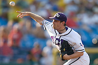 TCU pitcher Tyler Lockwood in Game 11 of the NCAA Division One Men's College World Series on June 25th, 2010 at Johnny Rosenblatt Stadium in Omaha, Nebraska.  (Photo by Andrew Woolley / Four Seam Images)