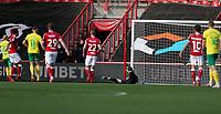 31st October 2020; Ashton Gate Stadium, Bristol, England; English Football League Championship Football, Bristol City versus Norwich; Opening goal scored by Teemu Pukki of Norwich City for 1-0 past keeper Bentley of Bristol