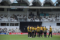 The Firebirds celebrate a wicket during the men's Dream11 Super Smash cricket match between the Wellington Firebirds and Northern Knights at Basin Reserve in Wellington, New Zealand on Saturday, 9 January 2021. Photo: Dave Lintott / lintottphoto.co.nz