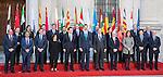 Spanish Prime Minister Mariano Rajoy and Felipe VI of Spain pose for a photo with the Presidents of 17 autonomous governments at the Senate in Madrid, January  17, 2017. (ALTERPHOTOS/Rodrigo Jimenez)