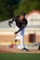 Batavia Muckdogs pitcher Julio Frias (30) during a NY-Penn League game against the Auburn Doubledays on August 31, 2019 at Dwyer Stadium in Batavia, New York.  Auburn defeated Batavia 12-5.  (Mike Janes/Four Seam Images)