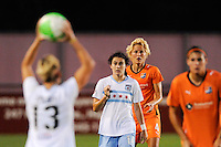 Karen Carney (14) of the Chicago Red Stars and Daphne Koster (4) of Sky Blue FC await a throw in by Natalie Spilger (13). The Chicago Red Stars defeated Sky Blue FC 2-1 during a Women's Professional Soccer (WPS) match at Yurcak Field in Piscataway, NJ, on August 01, 2010.