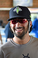 Desinated hitter J.J. Franco (2) of the Columbia Fireflies talks with fans in an autograph session prior to a game against the Rome Braves on Sunday, August 20, 2017, at Spirit Communications Park in Columbia, South Carolina. Rome won, 11-6 in 16 innings. (Tom Priddy/Four Seam Images)