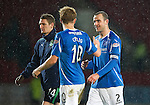 St Johnstone v Hibernian...26.11.11   SPL .Dave Mackay scores of the third goal celebrates with Liam Craig at full time.Picture by Graeme Hart..Copyright Perthshire Picture Agency.Tel: 01738 623350  Mobile: 07990 594431