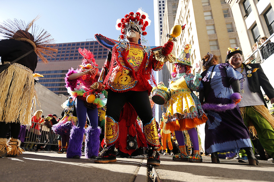 NEW ORLEANS, LOUISIANA - FEBRUARY 9, 2016:  A member of the Mondo Kayo Social and Marching Club parades down St. Charles Avenue during Mardi Gras day on February 9, 2016 in New Orleans, Louisiana. Fat Tuesday, or Mardi Gras in French, is a celebration traditionally held before the observance of Ash Wednesday and the beginning of the Christian Lenten season. (Photo by Jonathan Bachman/Getty Images)