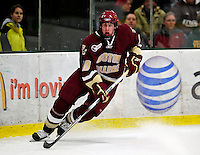 18 October 2009: Boston College Eagle forward Jimmy Hayes, a Sophomore from Dorchester, MA, in action during the first period against the University of Vermont Catamounts at Gutterson Fieldhouse in Burlington, Vermont. The Catamounts defeated the visiting Eagles 4-1. Mandatory Credit: Ed Wolfstein Photo