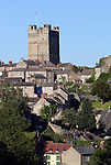 Great Britain, England, North Yorkshire, Richmond: The Keep of Richmond Castle and town
