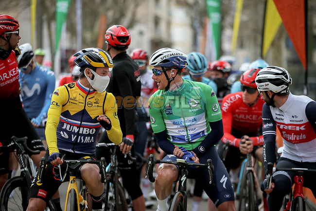 Yellow Jersey Primoz Rogloc (SLO) Team Jumbo-Visma and Green Jersey Sam Bennett (IRL) Deceuninck-Quick Step chat at the start of Stage 5 of Paris-Nice 2021, running 200km from Vienne to Bollene, France. 11th March 2021.<br /> Picture: ASO/Fabien Boukla | Cyclefile<br /> <br /> All photos usage must carry mandatory copyright credit (© Cyclefile | ASO/Fabien Boukla)