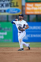 Binghamton Rumble Ponies shortstop Jio Mier (1) throws to first base during a game against the Altoona Curve on May 17, 2017 at NYSEG Stadium in Binghamton, New York.  Altoona defeated Binghamton 8-6.  (Mike Janes/Four Seam Images)