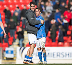 St Johnstone v Dundee....11.04.15   SPFL<br /> Brian Graham and Chris Millar celebrate finishing in the top six<br /> Picture by Graeme Hart.<br /> Copyright Perthshire Picture Agency<br /> Tel: 01738 623350  Mobile: 07990 594431