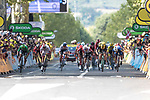 Wout Van Aert (BEL) Team Jumbo-Visma, Peter Sagan (SVK) Bora-Hansgrohe, Jasper Philipsen (BEL) UAE Team Emirates, Caleb Ewan (AUS) Lotto-Soudal and Elia Viviani (ITA) Deceuninck-Quick Step sprint for the finish line of Stage 10 of the 2019 Tour de France running 217.5km from Saint-Flour to Albi, France. 15th July 2019.<br /> Picture: Colin Flockton | Cyclefile<br /> All photos usage must carry mandatory copyright credit (© Cyclefile | Colin Flockton)