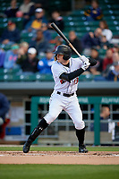 Indianapolis Indians right fielder Austin Meadows (13) bats during a game against the Toledo Mud Hens on May 2, 2017 at Victory Field in Indianapolis, Indiana.  Indianapolis defeated Toledo 9-2.  (Mike Janes/Four Seam Images)