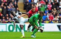 Swansea's Nathan Dyer kept off the ball by defencer Nemanja Vidic.<br />