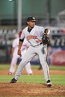 Bowie Baysox relief pitcher Jesus Liranzo (30) delivers a pitch during a game against the Harrisburg Senators on May 16, 2017 at FNB Field in Harrisburg, Pennsylvania.  Bowie defeated Harrisburg 6-4.  (Mike Janes/Four Seam Images)