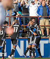 Chris Wondolowski of Earthquakes celebrates with teammates after scoring a goal during the game against Whitecaps at Buck Shaw Stadium in Santa Clara, California on April 7th, 2012.  San Jose Earthquakes defeated Vancouver Whitecaps, 3-1.