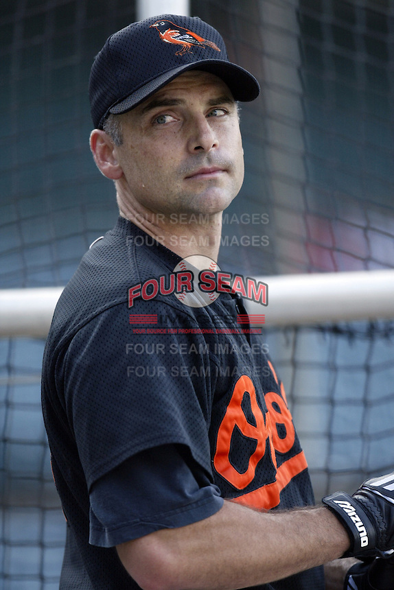 Mike Bordick of the Baltimore Orioles before a 2002 MLB season game against the Los Angeles Angels at Angel Stadium, in Los Angeles, California. (Larry Goren/Four Seam Images)