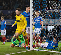 Fleetwood Town's Barrie McKay celebrates scoring his side's first goal <br /> <br /> Photographer David Horton/CameraSport<br /> <br /> The EFL Sky Bet League One - Portsmouth v Fleetwood Town - Tuesday 10th March 2020 - Fratton Park - Portsmouth<br /> <br /> World Copyright © 2020 CameraSport. All rights reserved. 43 Linden Ave. Countesthorpe. Leicester. England. LE8 5PG - Tel: +44 (0) 116 277 4147 - admin@camerasport.com - www.camerasport.com