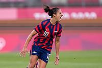 KASHIMA, JAPAN - AUGUST 5: Carli Lloyd #10 of the USWNT celebrates her goal during a game between Australia and USWNT at Kashima Soccer Stadium on August 5, 2021 in Kashima, Japan.