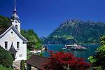 Switzerland, Canton Uri, Bauen: view across Bauen and Urner lake (part of Lake Lucerne) at Fronalpstock mountain (1.922 m)