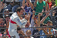 30th May 2021, Indianapolis, Indiana, USA; NTT Indy Car Series driver Helio Castroneves reacts after winning the 105th running of the Indianapolis 500 on May 30, 2021 at the Indianapolis Motor Speedway in Indianapolis, Indiana.