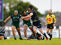 4th June 2021; Galway Sportsgrounds, Galway, Connacht, Ireland; Rainbow Cup Rugby, Connacht versus Ospreys; Bundee Aki (Connacht) holds off a challenge from Adam Beard (Ospreys)