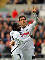 FAO SPORTS PICTURE DESK<br /> Pictured: Danny Graham of Swansea (R) celebrating his goal with team mate Nathan Dyer (L). Saturday, 28 April 2012<br /> Re: Premier League football, Swansea City FC v Wolverhampton Wanderers at the Liberty Stadium, south Wales.