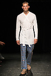 Model William L walks runway in an outfit from the Linder Spring Summer 2017 collection by Sam Linder and Kirk Millar on July 11 2016, during New York Fashion Week Men's Spring Summer 2017.