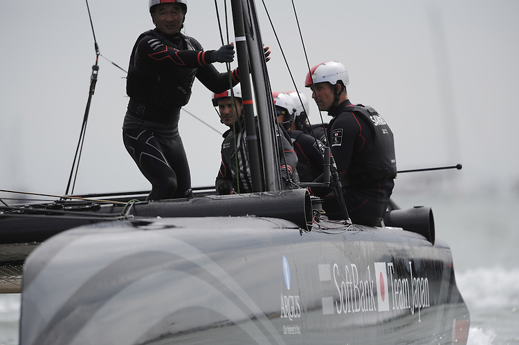 SoftBank Team Japan, JULY 24, 2016 - Sailing: SoftBank Team Japan crew pause between races during day two of the Louis Vuitton America's Cup World Series racing, Portsmouth, United Kingdom. (Photo by Rob Munro/Stewart Communications)