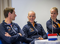 Bratislava, Slovenia, April 21, 2017,  FedCup: Slovakia-Netherlands, Draw ceremony, Dutch table with lor: captain  Paul Haarhuis, Kiki Bertens and Richel Hogenkamp.<br /> Photo: Tennisimages/Henk Koster