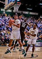 18 December 2018: University of Vermont Catamount Forward Anthony Lamb, a Junior from Toronto, Ontario, pulls in a rebound in the second half of play against the St. Bonaventure University Bonnies at Patrick Gymnasium in Burlington, Vermont. The Catamounts defeated the Bonnies 83-76 in a double-overtime NCAA DI game. Mandatory Credit: Ed Wolfstein Photo *** RAW (NEF) Image File Available ***