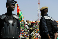BURKINA FASO, armed soldier at parade in Stadium in Ougadougou /<br /> BURKINA FASO, bewaffnete Garde bei einer Parade im Stadium in Ougadougou