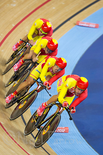 03 AUG 2012 - LONDON, GBR - Spain's (ESP) men's team race against Colombia in their Team Pursuit first round race during the London 2012 Olympic Games track cycling in the Olympic Park Velodrome in Stratford, London, Great Britain .(PHOTO (C) 2012 NIGEL FARROW)