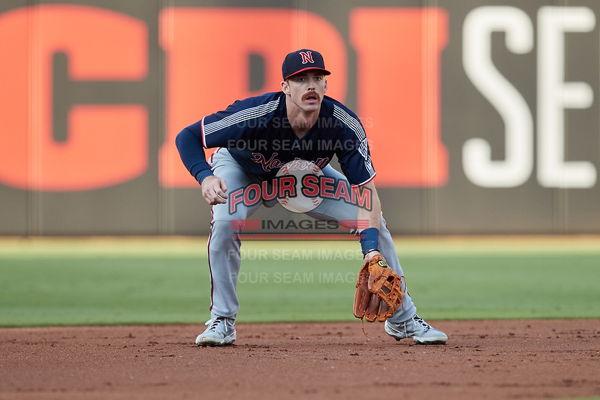 Nashville Sounds third baseman Zach Green (12) on defense against the Charlotte Knights at Truist Field on June 4, 2021 in Charlotte, North Carolina. (Brian Westerholt/Four Seam Images)