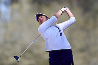 WALLACE, NC - MARCH 09: Tonrak Tasaso of High Point University tees off on the 15th hole of the River Course at River Landing Country Club on March 09, 2020 in Wallace, North Carolina.
