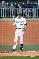 Zach Jarrett (10) of the Charlotte 49ers at bat against the Florida Atlantic Owls at Hayes Stadium on March 14, 2015 in Charlotte, North Carolina.  The Owls defeated the 49ers 8-3 in game one of a double header.  (Brian Westerholt/Four Seam Images)