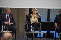 """BMZ-Konferenz """"Religion und die Agenda 2030 fuer nachhaltige Entwicklung"""".<br /> Vlnr: Eric G. Postel, Associate Administrator, U.S. Agency for International Development (USAID), USA; Tawakkol Karman, Friedensnobelpreistraegerin (2011), Jemen; Erzb. Sebastian Francis Shaw OFM, Erzbischof von Lahore, Pakistan.<br /> 17.2.2016, Berlin<br /> Copyright: Christian-Ditsch.de<br /> [Inhaltsveraendernde Manipulation des Fotos nur nach ausdruecklicher Genehmigung des Fotografen. Vereinbarungen ueber Abtretung von Persoenlichkeitsrechten/Model Release der abgebildeten Person/Personen liegen nicht vor. NO MODEL RELEASE! Nur fuer Redaktionelle Zwecke. Don't publish without copyright Christian-Ditsch.de, Veroeffentlichung nur mit Fotografennennung, sowie gegen Honorar, MwSt. und Beleg. Konto: I N G - D i B a, IBAN DE58500105175400192269, BIC INGDDEFFXXX, Kontakt: post@christian-ditsch.de<br /> Bei der Bearbeitung der Dateiinformationen darf die Urheberkennzeichnung in den EXIF- und  IPTC-Daten nicht entfernt werden, diese sind in digitalen Medien nach §95c UrhG rechtlich geschuetzt. Der Urhebervermerk wird gemaess §13 UrhG verlangt.]"""