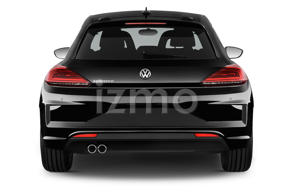 Straight rear view of a 2015 Volkswagen SCIROCCO R 3 Door Hatchback 2WD Rear View  stock images