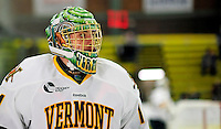 9 January 2011: University of Vermont Catamount goaltender John Vazzano, a Junior from Trumbull, CT, warms up prior to action against the Boston University Terriers at Gutterson Fieldhouse in Burlington, Vermont. The Catamounts fell to the Terriers 4-2 in Hockey East play. Mandatory Credit: Ed Wolfstein Photo
