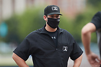 Umpire Macon Hammond prior to the game between the Carolina Mudcats and the Kannapolis Cannon Ballers at Atrium Health Ballpark on June 13, 2021 in Kannapolis, North Carolina. (Brian Westerholt/Four Seam Images)