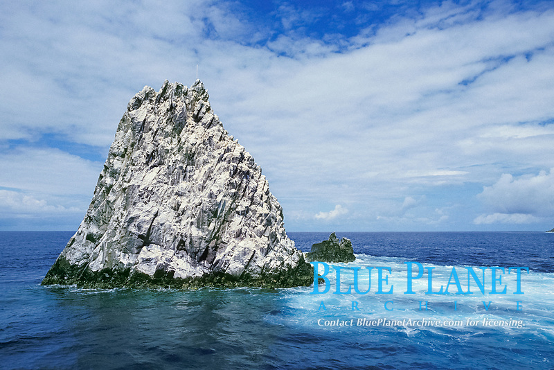 Diamond Rock is a pinnacle that rises from 60 feet below the surface to 80 feet above it, off Saba Island, Netherlands Antilles (Eastern Caribbean Sea, Atlantic) (Eastern Caribbean Sea, Atlantic), Atlantic