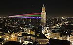 Nederland, Utrecht, 22-03-2011,.Lasershow van de Uithof ( universiteits centrum/ campus naar de Dom in de binnenstad van Utrecht nav het 375 jarig bestaan van de Universiteit Utrecht..photo Michael Kooren/ HH.foto Michael Kooren.