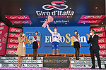Race leader Joao Almeida (POR) Deceuninck-Quick Step also retains the young riders Maglia Bianca at the end of Stage 13 of the 103rd edition of the Giro d'Italia 2020 running 192km from Cervia to Monselice, Italy. 16th October 2020.   <br /> Picture: LaPresse/Massimo Paolone | Cyclefile<br /> <br /> All photos usage must carry mandatory copyright credit (© Cyclefile | LaPresse/Massimo Paolone)