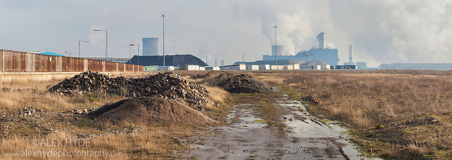 Brownfield site, Kingston upon Hull, East Yorkshire, England, UK. Digitally stitched panorama.