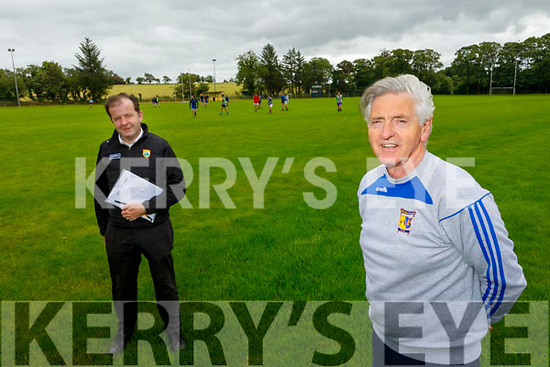 The Chairman and Secretary of the Ballymac GAA field as they reopen their facilities.<br /> Front right: Mike Sweeney (Chairman) and Fionnan Fitzgerald (Secretary).